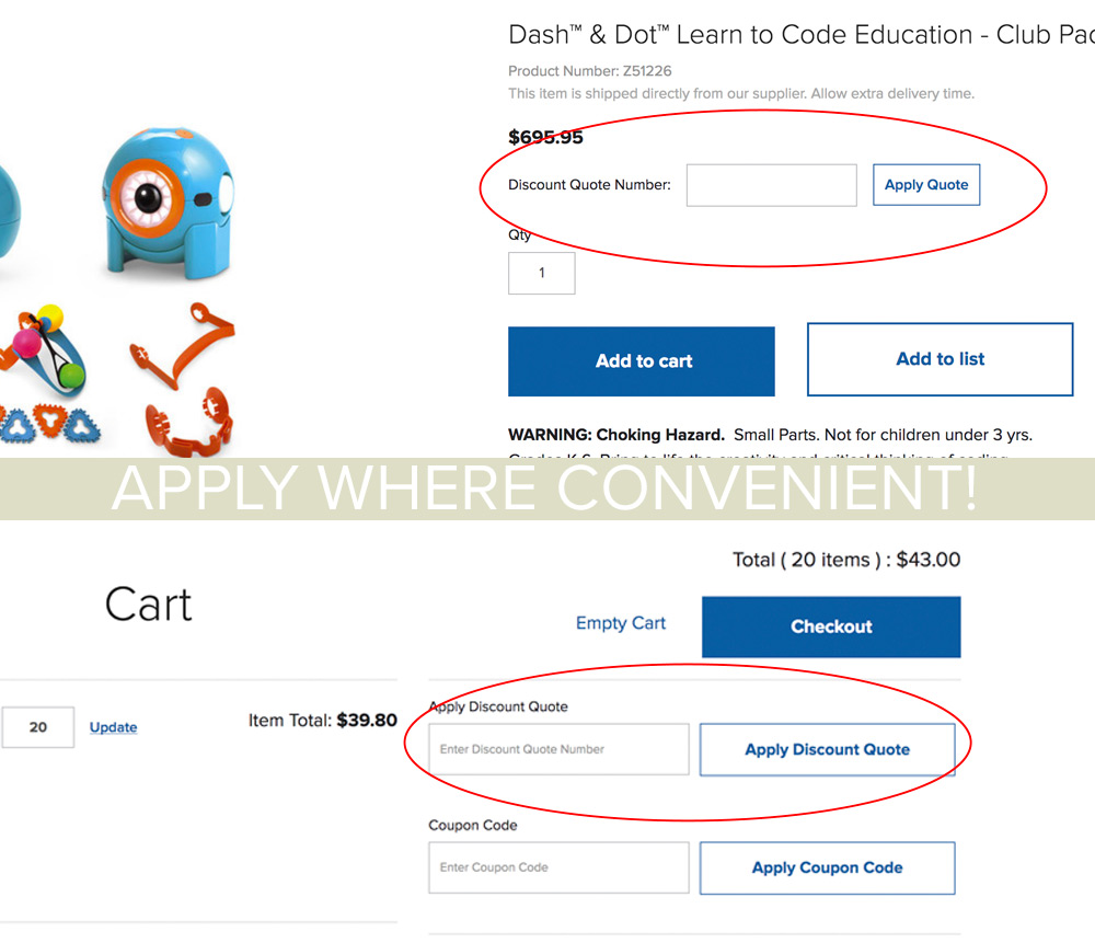 Entering a Quote from the Product Detail Page or easily applying from your cart!
