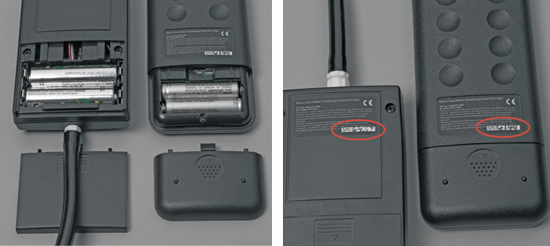 Image of battery area and serial number area