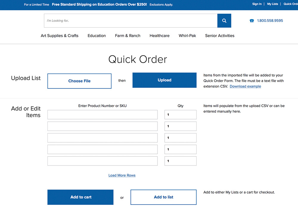 Check Out Our Quick Order Feature