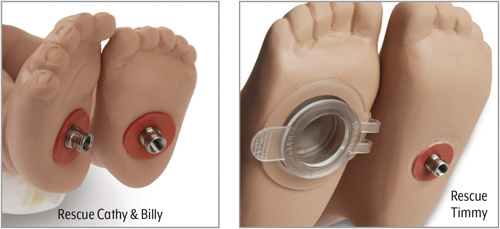 Foot Valves - Rescue Cathy & Billy (left image); Rescue Timmy (right image)